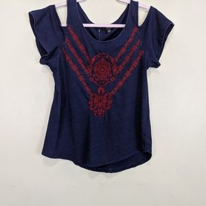 Lucky Brand Cold Shoulder Top Size Small
